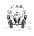black and white tractor profile in the field a vector image vector image