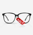 black optical glasses on white background vector image vector image