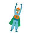 boy wearing colorful costume superhero vector image
