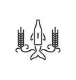 brew bottle nose dolphin logo icon with grain vector image vector image