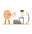 businessman with bow near archery target vector image vector image