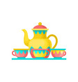 carnival carousel with coffe cups amusement park vector image