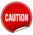caution round red sticker isolated on white vector image vector image