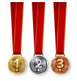 champion medals set metal realistic first vector image vector image