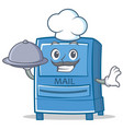 chef mailbox character cartoon style vector image vector image