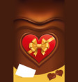 chocolate background with read heart package vector image