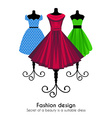 Colorful Dresses on the Mannequins Background vector image vector image