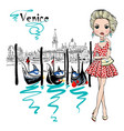 cute fashion girl in venice italia vector image