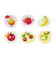 cute happy fruits characters set funny mascots vector image