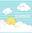 cute hello summer sky smiling sun and cloud card vector image vector image