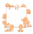cute little babies near blank text frame vector image