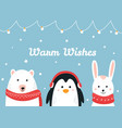 cute woodland animals warm wishes christmas and vector image
