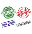 damaged textured asian cuisine stamp seals vector image