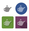 dotted icon brewing teapot in four variants vector image
