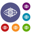 eye and target icons set vector image vector image