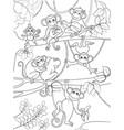 family of monkeys on a tree coloring book for vector image