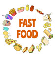 fast food doodles ornament vector image
