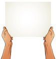Female hands holding blank paper sheet vector image