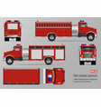fire truck template vector image vector image