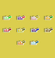 flat icons set of column chart and paper knife vector image vector image