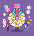 game wheel concept people playing risk game with vector image vector image