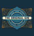 gin label for packing with floral ornaments vector image vector image