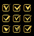 golden confirm signs icons of collection vector image