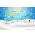happy new year 2018 with blue winter background vector image