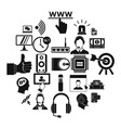 headphone icons set simple style vector image vector image