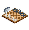 isometric chess board and pieces chess icons vector image vector image