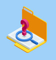 isometric document search concept folders
