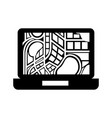 laptop computer with navigator map application vector image vector image