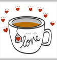 make with love word on white coffee cup vector image vector image