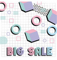 memphis style pattern big sale promotion poster vector image