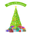 merry christmas congratulation from bright spruce vector image vector image