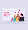 mix race women standing together womens day 8 vector image