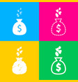 money bag sign with currency symbols four styles vector image vector image
