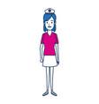 nurse female staff with uniform hat medical vector image vector image