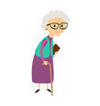Old woman with cane Senior lady with glasses vector image