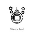 outline mirror ball icon isolated black simple vector image vector image