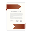 paper sheet with brown ribbon and banking icons vector image