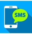 Phone SMS Flat Long Shadow Square Icon vector image vector image