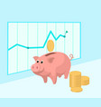 piggy bank with coins and diagram cartoon vector image