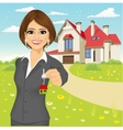real estate agent holding the key of a new house vector image vector image