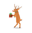 reindeer with red nose and vector image vector image