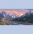 road leading to mountains natural landscape vector image