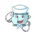 sailor steel pot character cartoon vector image