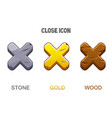 set icons close golden wooden and stone vector image
