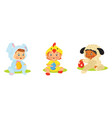 set of kids in easter costumes with eggs vector image