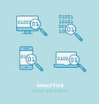 simple icons set analytics flat thin line vector image vector image